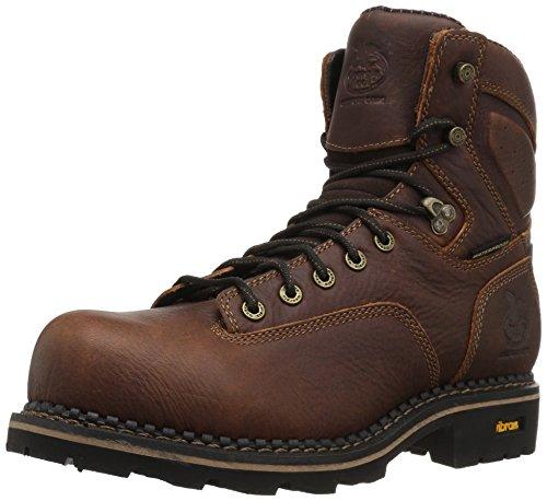 Georgia Boot Comfort Core Low Heel Logger Waterproof Composite Toe Work Boot Dark Brown Composite-toe Logger Boots