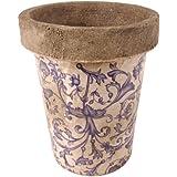 Esschert Design Blau-Weiß Keramik Long Tom Blumentopf, Blumengefäß, Pflanzkübel, ca. 12,5 cm Durchmesser, ca. 15,5 cm hoch