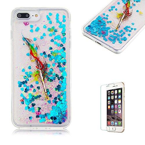 """Für iPhone 7 Plus 5.5"""" Durchsichtige Hülle,Für iPhone 7 Plus 5.5"""" Crystal Clear Flüssig Hülle Schutz Handy Case Hülle,Funyye Nette Kreative Komisch 3D Flüssigkeit Schutzhülle Bunten Muster Transparent Ölgemälde Feder"""