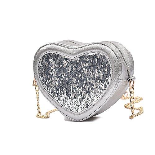 Meoaeo Borsa A Tracolla Nuova Estate Pu Zipper Spalla Tutti-Match Di Paillettes Catena Bag Argentea silvery