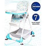 R for Rabbit Marshmallow 7 Levels Smart Feeding Table High Chair for New Born Baby Kids Toddlers from 0 to 5 Years with Multiple Recline Position and Study Table & Booster Chair (White)