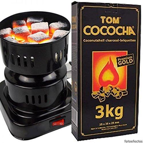 Hornillo eléctrico 600W para Shisha o Cachimba + 3 Kg. Carbón Natural Tom Cococha Gold