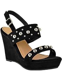 Fashion Thirsty heelberry Scarpe Basse da Donna Passanti Sandali Paillettes Comfort Scarpe estive Luccicante Misura UK - Argento con Glitter, 40