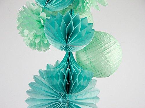 (SUNBEAUTY 10er Set Dekoration Mint Papier Pompoms & Rosetten & Wabe & Lampion Türkis Serie Mixed Hochzeit Geburtstag Feier Party Dekoration)