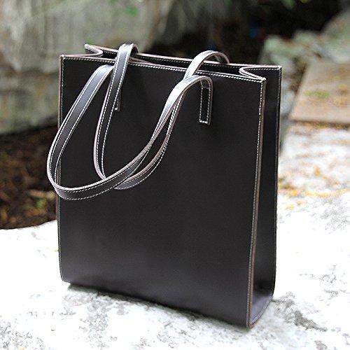 Sac à main épaule cuir simple sac à main sac à main de mode en cuir marron clair, Brown Black