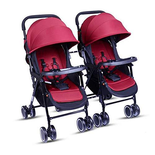 Twin Trittbrett (Unbekannt Tragbare Twin Baby-Zwillinge können sitzen und Sich zurücklehnen. Leichter, zusammenklappbarer, Abnehmbarer, ultraleichter Stoßdämpferwagen,D)