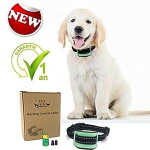 Collier anti aboiement petit chien sans choc- PETS ELITE- Collier aboiement chien confortable, sain et sans danger pour l'animal - Stimuli automatiques : sons et vibrations avec 7 niveaux d'intensité - Coloris Vert- Garantie 1 an