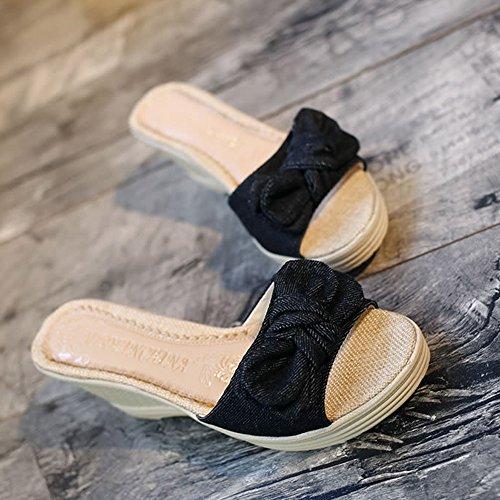 Longra Donne Bow sandali Slipsole Nero