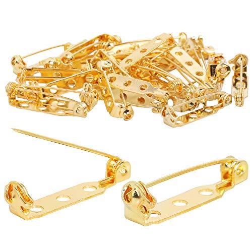 TRIXES 100 Stück Broschennadeln - Sicherheitsverschluss mit Rückenbügelbefestigung - 25mm - Goldfarben