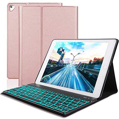SENGBIRCH Custodia Tastiera per iPad PRO 11, Slim Fit Cover Protettiva per con Inglese Tastiera Bluetooth Wireless Staccabile per iPad PRO da 11 Pollici (Rosa Oro)