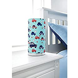 KIDS PRINTED TABLE LAMP BOYS ROOM TABLE LAMP BED SIDE TABLE LAMP-BLUE CARS
