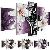 Bild 200 x 100 cm - Lilien Bilder- Vlies Leinwand - Deko für Wohnzimmer -Wandbild - XXL 5 Teilig Teile - leichtes Aufhängen- 801051c