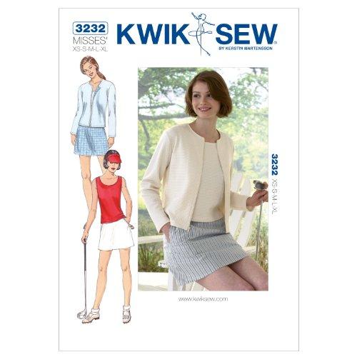 Kwik Schnittmuster K3232, Größe XS, S, M, L, XL, Top und Rock, Strickjacke, Weiß, 1 Stück -