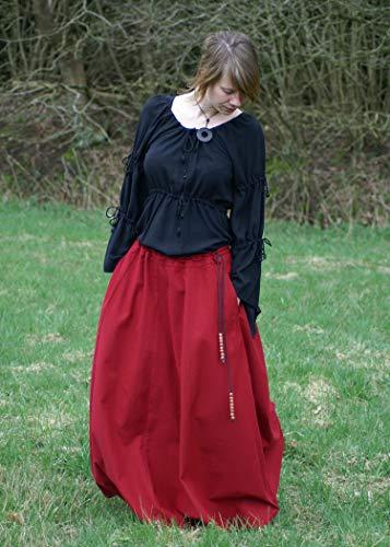 Mittelalterlicher Rock, weit ausgestellt, rot aus Baumwolle Größe M - 5