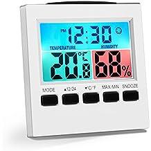 VIFLYKOO Termómetro Higrometro Digital LCD Pantalla Medidor de Humedad y Temperatura con Retroiluminación para Hogar, Pared, Escritorio, Interior, Exterior