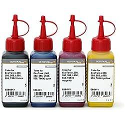 4 x 250 ml Encre, Encre d'imprimante pour Epson EcoTank L300, L350, L355, L365, L455, L550, L555, L565, L100, L200 Imprimante, Encre de rechange pour T6641, T6642, T6643, T6644 Noire, Cyan, Magenta, Jaune (pas d'OEM)