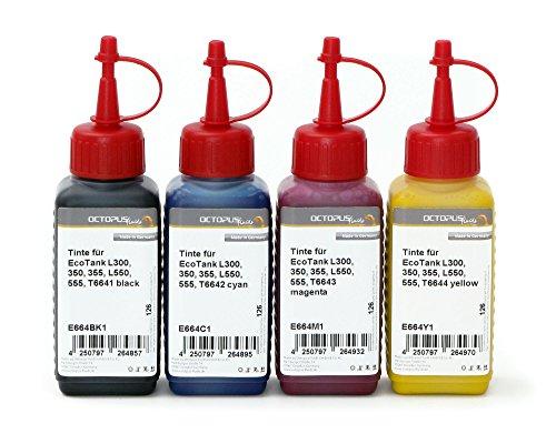 Octopus 4X 250ml Tinte, Druckertinte für Epson EcoTank L300, L350, L355, L365, L455, L550, L555, L565, L100, L200 Drucker, Nachfülltinte für T6641, T6642, T6643, T6644 (kein OEM) -