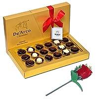 De'Arco Chocolatier Valentines Day Chocolate Gift, Premium Luxury Chocolates, 18pcs + Free Rose