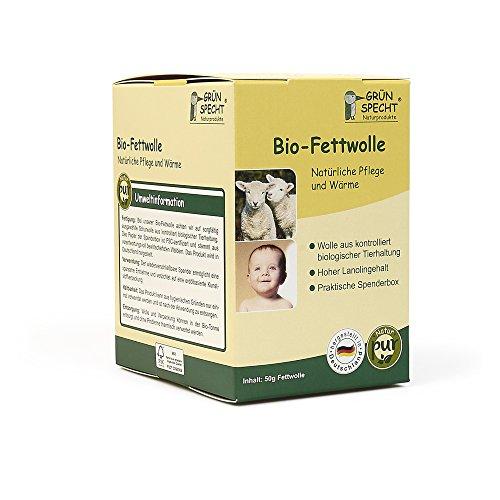 Grünspecht 638-00 Bio-Fettwolle, kbT, Rohwolle, Schafwolle mit hohem Lanolingehalt zur Haut- und Babypflege, 50 g, beige
