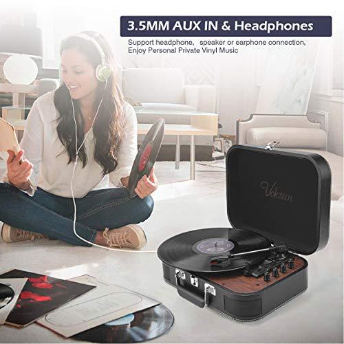 Tocadiscos de Vinilo, VOKSUN Tocadiscos Bluetooth y codificador Digital con 3 velocidades 33/45/78 RPM incorporadas 2 Altavoces estéreo Aux- In RCA,  diseño de Estuche (Cuero)