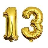 DekoRex 13 ALS Folienballon Luftballon Zahlenballon Jahrestag Geburtstag in Gold 80cm hoch