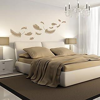 Denoda Federn   Wandtattoo Weiss 147 X 75 Cm (Wandsticker Wanddekoration  Wohndeko Wohnzimmer Kinderzimmer Schlafzimmer