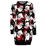 Luckycat Frauen Weihnachten Langarm Pullover Pullover Minikleid Partykleider Cocktailkleid Blusenkleid Kleider