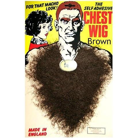 Marrone Hairy petto parrucca per travestimento autoadesivo