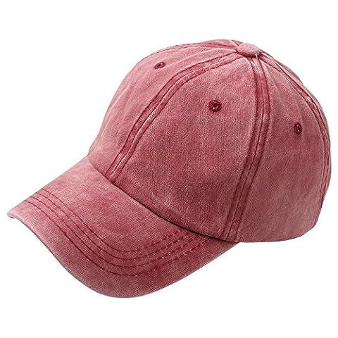 SiDiOU Group Sports Bonnets de baseball en coton pour hommes et femmes Casquettes Snapback Casquettes lavées en plafond Casquettes blancs Casquettes Sun Unisexe (Vin Rouge)