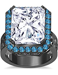 Silvernshine 18K Rediant Cut Aquamarine Simuleted Diamond BlackGold Plated Hand Craft Wedding Ring