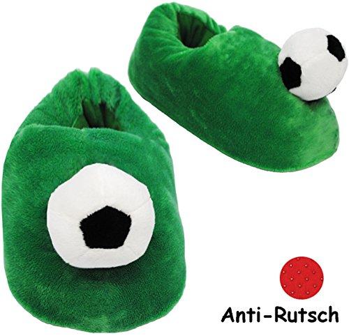 Unbekannt Hausschuhe / Pantoffel -  Fussball  - Größe Gr. 29 - 30 - 31 - 32 - 33 - 34 - 35 __ schön warm __ Plüschhausschuh / grün - für Kinder & Erwachsene - ABS Soh..