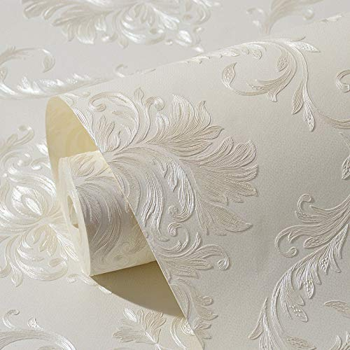 XPY-Wallpaper Tessuto Non Tessuto Autoadesivo Spessa Carta da Parati Europea Damasco Carta da Parati in Rilievo 3D Parete Camera da Letto Soggiorno, Bianca
