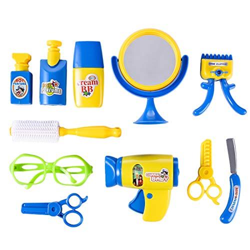 LDB SHOP 12 Stück Emulational Elektrische Föhn Barber Werkzeuge Spielzeug Kit mit Sound und Licht für Kinder -