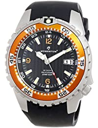 Momentum 1M-DV06O4B - Reloj analógico de cuarzo para hombre con correa de caucho, color negro