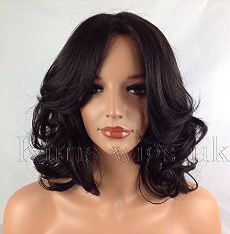 KIMS WIGS SHORT WOMENS LADIES SHOULDER LENGTH CURLY BLACK/DARK BROWN WIG #2 by Kims Wigs