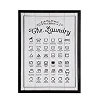 NIKKY HOME Wooden Framed Wall Hanging Laundry Guide Plaque/Sign for Laundry Room