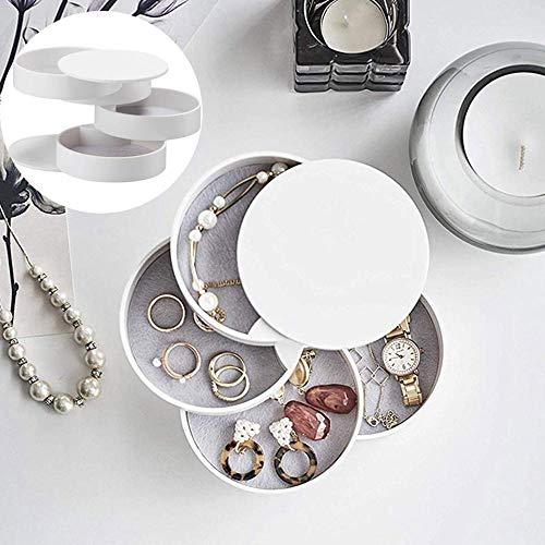 FOONEE Schmuck-Organizer mit Ständer, 4 Etagen Schmuck-Tablett mit Deckel, 360 Grad drehbar, Kunststoff, Make-up-Organizer für Mädchen und Frauen, Reine Farbe weiß
