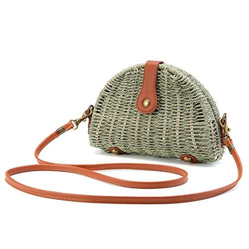 Stroh Umhängetasche, JOSEKO Stroh Crossbody Tasche Runde Sommer Strand Geldbörse und Handtaschen für Frauen Grün -