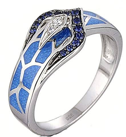 SaySure - Silver Snake Ring Blue Created Sapphire (SIZE : 6.5)