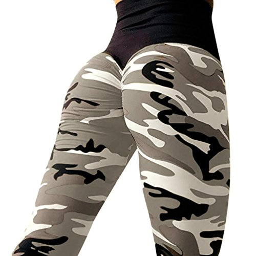 Skinny Leggings à Imprimé Camouflage Femme,Overdose Sexy Pantalon Jogging Taille Haute Running Yoga Sport Militaire Trousers (36, Gris)