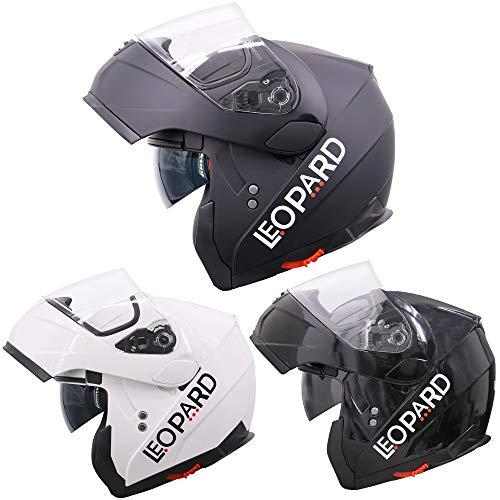 Leopard LEO-838 Cascos modulares de Moto Motocicleta Bicicleta ECE 22-05 Aprobado Doble Visera #01 Negro Mate M (57-58cm)