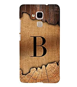 Initial B Wooden Alabhet 3D Hard Polycarbonate Designer Back Case Cover for Huawei Honor 5C : Huawei Honor 7 Lite : Huawei GT3