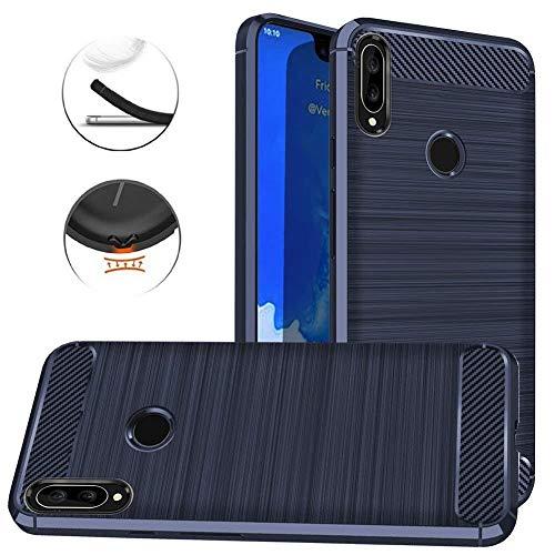 AModern Huawei P Smart Plus Hülle,Huawei Nova 3i Hülle,Mode-Design, schlanke Art, Flexible Kohlefaser gebürstet Textur weichen TPU hülle (Blue)