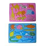 2x Kinder Zeichenschablone Wasser Hai Wal + Land Löwe Fuchs Malschablone Stencil Tiere