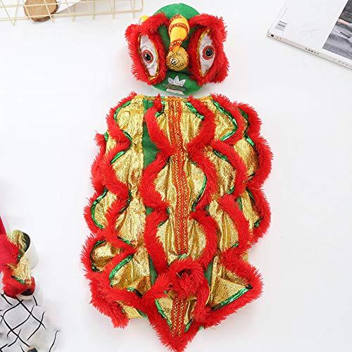 WLBD Hundebekleidung für kleinen Hund Overall Dog Lion Dance Kleidung Hund Teddy Haustier Keji lustige Löwen Gesetz Kampf lustige Herbst und Winter BS Hundebekleidung - Lustig Gesetzes Kostüm