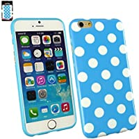 "Emartbuy® Apple Iphone 6 4.7"" Zoll Polka Dots Gel Hülle Schutzhülle Case Cover Blau / Weiß"