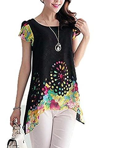 Hippolo Chemisier en mousseline de courroie O cou Imprimé floral creux Out Overlay Pétale manches T Shirt TOPS multicolores XL noir