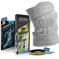 ULIMIT® 1X Kniebandage + KNIESCHMERZENFREI E-Book Download - geeignet bei Knieproblemen gibt sie rutschfesten Halt als Stütze zum Arbeiten, Joggen, Wandern, Laufen und Sport für zunehmendes Wohlsein
