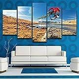 WLHQH 5 Stück Leinwand Kunstdruck Fahrradfahrer Wandbild Kunstdruck Wohnzimmer Wanddekoration 150x80cm Leinwandbild Geeignet für Heimtextilien(Ohne Rahmen)