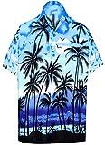 LA LEELA | Funky Camicia Hawaiana da Uomo | XS - 7XL | Maniche Corte | Tasca Frontale | Stampa Hawaiana | Estivo Estate Spiaggia Palme Blu_W136 M - Torace (in CMS) : 101-111
